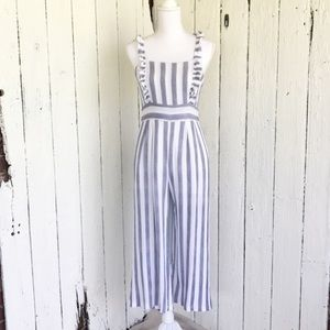 Jumpsuit Nordstrom ruffle apron stripe blue white